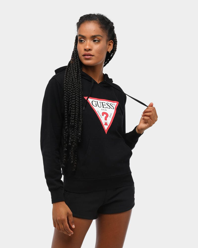 Guess Women's Long Sleeve Classic Triangle Hoodie Black