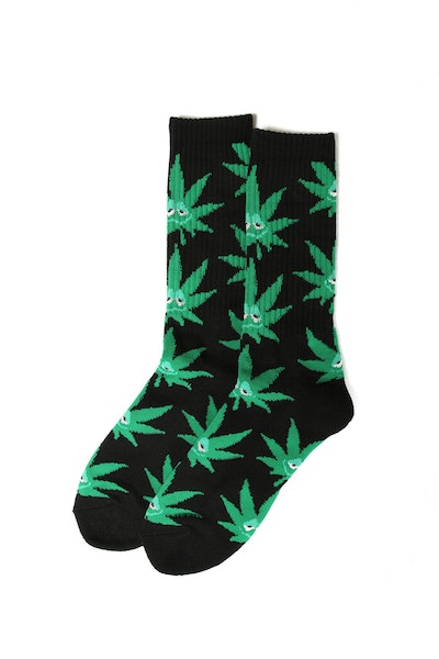 Huf Green Buddy Plantlife Crew Sock Black