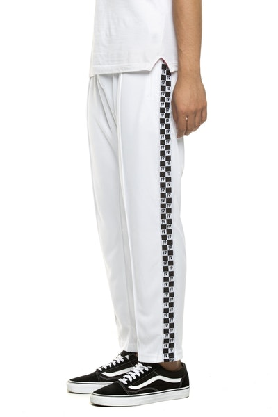 10 DEEP CHECKERED FLAG TRACK PANT WHITE