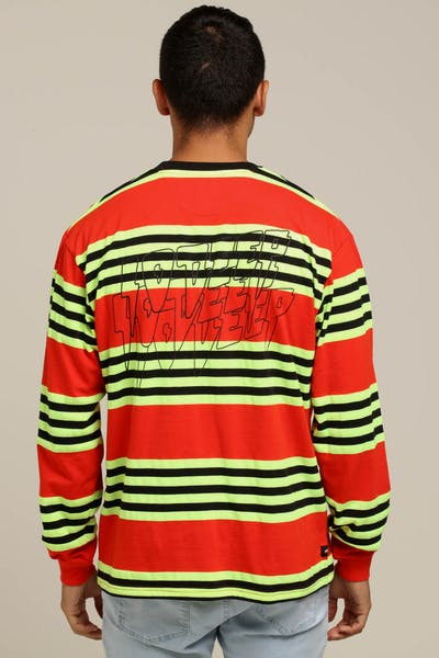 10 Deep S&F L/S Stripe Tee Red