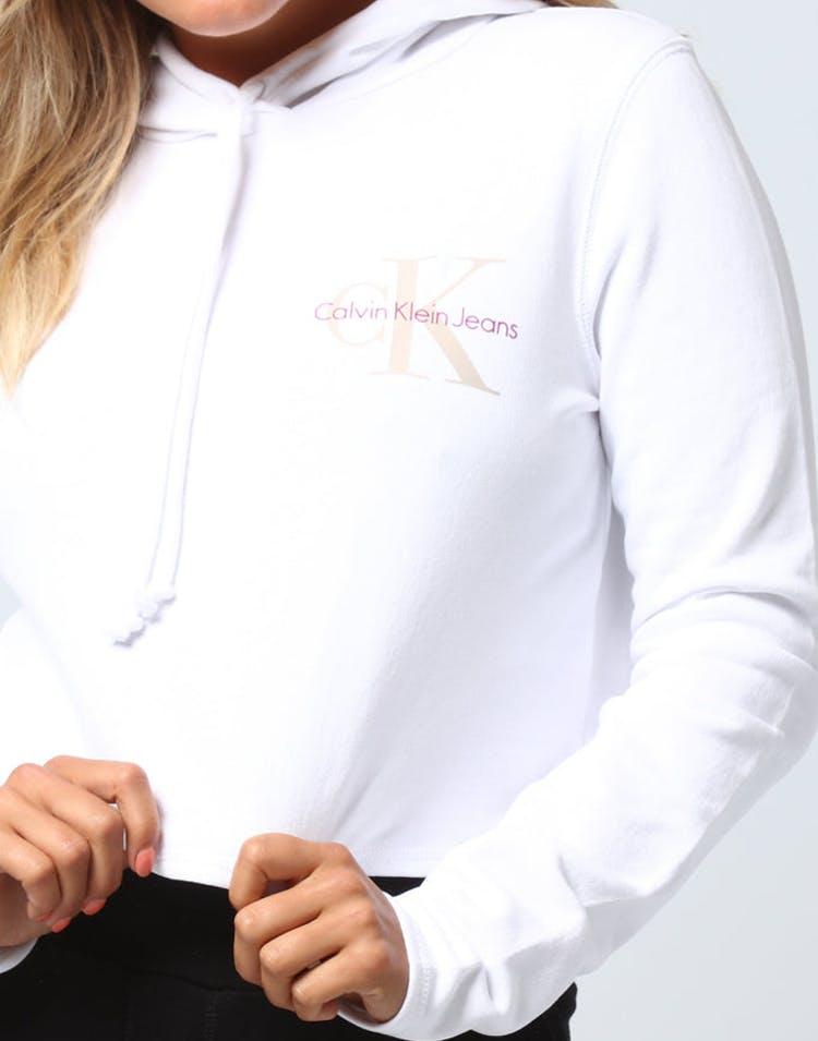 d8bbde2d Calvin Klein Women's Monogram Hoodie Crop White