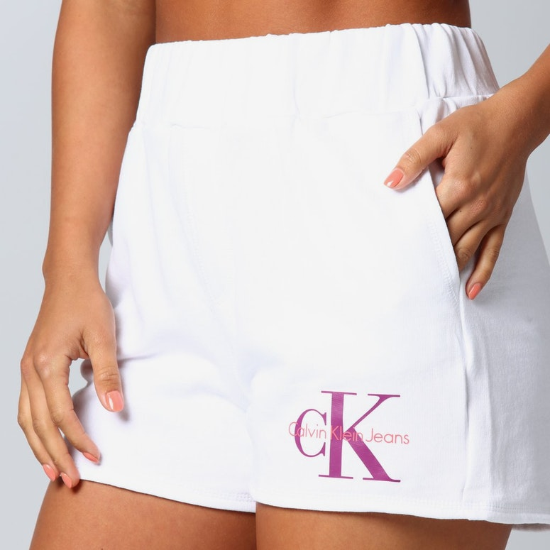 Calvin Klein Women's Monogram Terry Shorts White