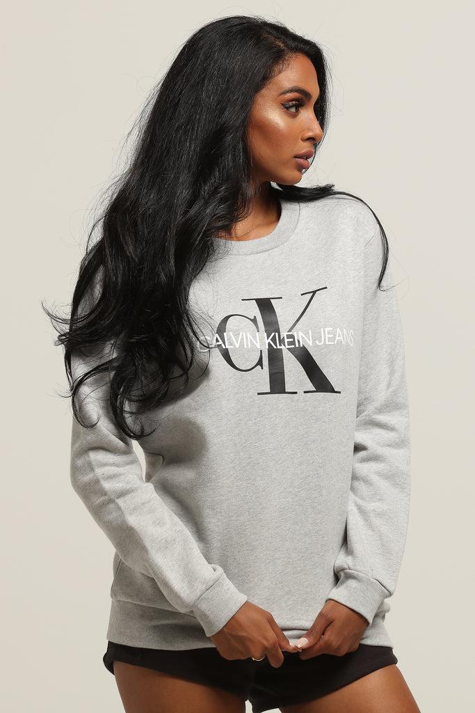 Grey Monogram Klein Women's Sweatshirt Light Core Calvin JcT1KlF