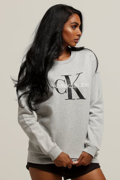 72c312e1460dc Calvin Klein Women s Core Monogram Sweatshirt Light Grey