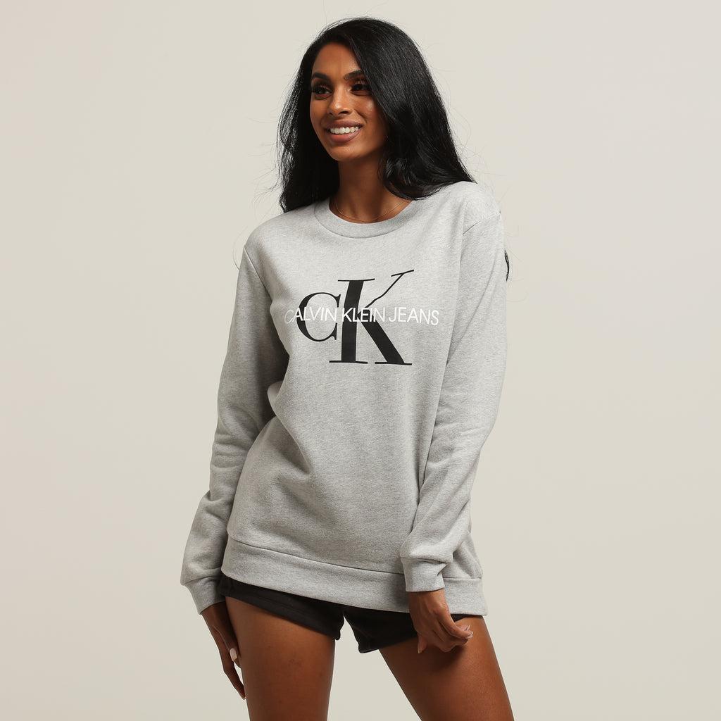 Sweatshirt Light Calvin Women's Grey Monogram Core Klein XNkw8Pn0O