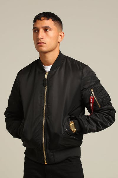 ALPHA INDUSTRIES MA-1 SLIM FIT FLIGHT JACKET BLACK