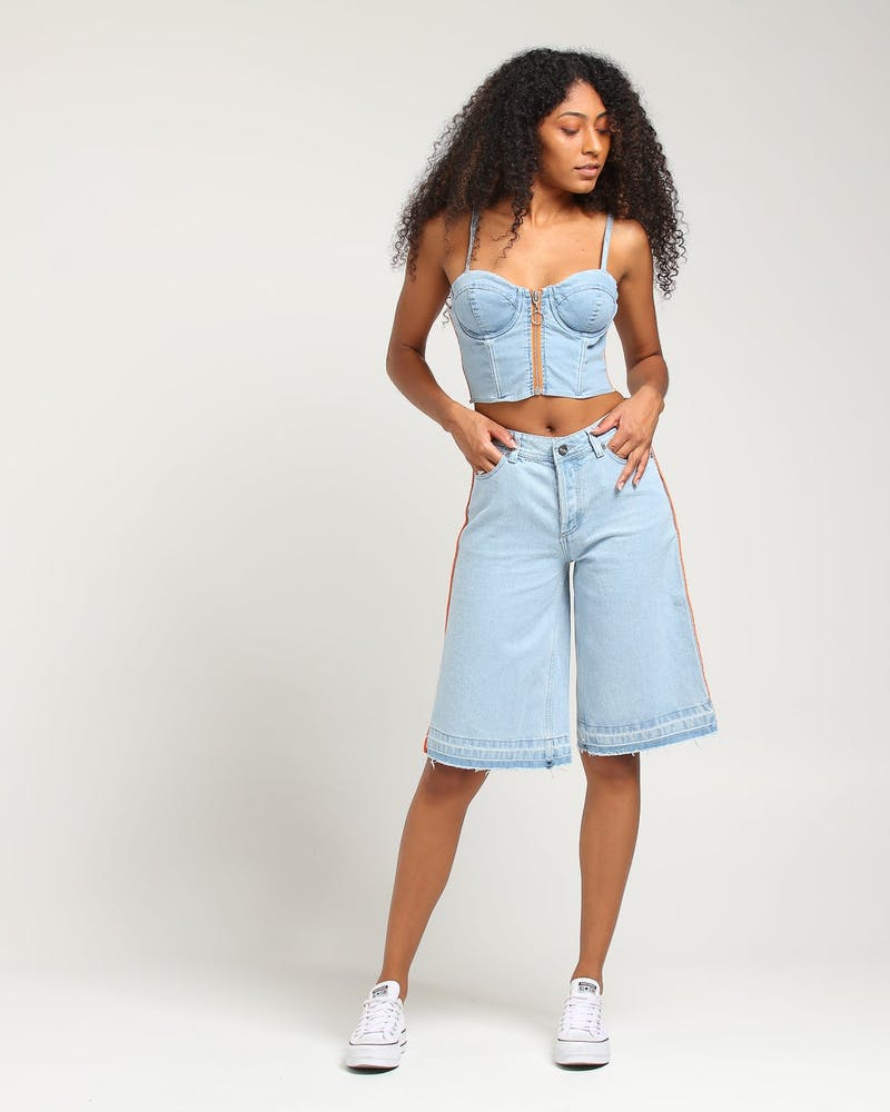 Nana Judy Women's Arizona Denim Bustier Pale Indigo