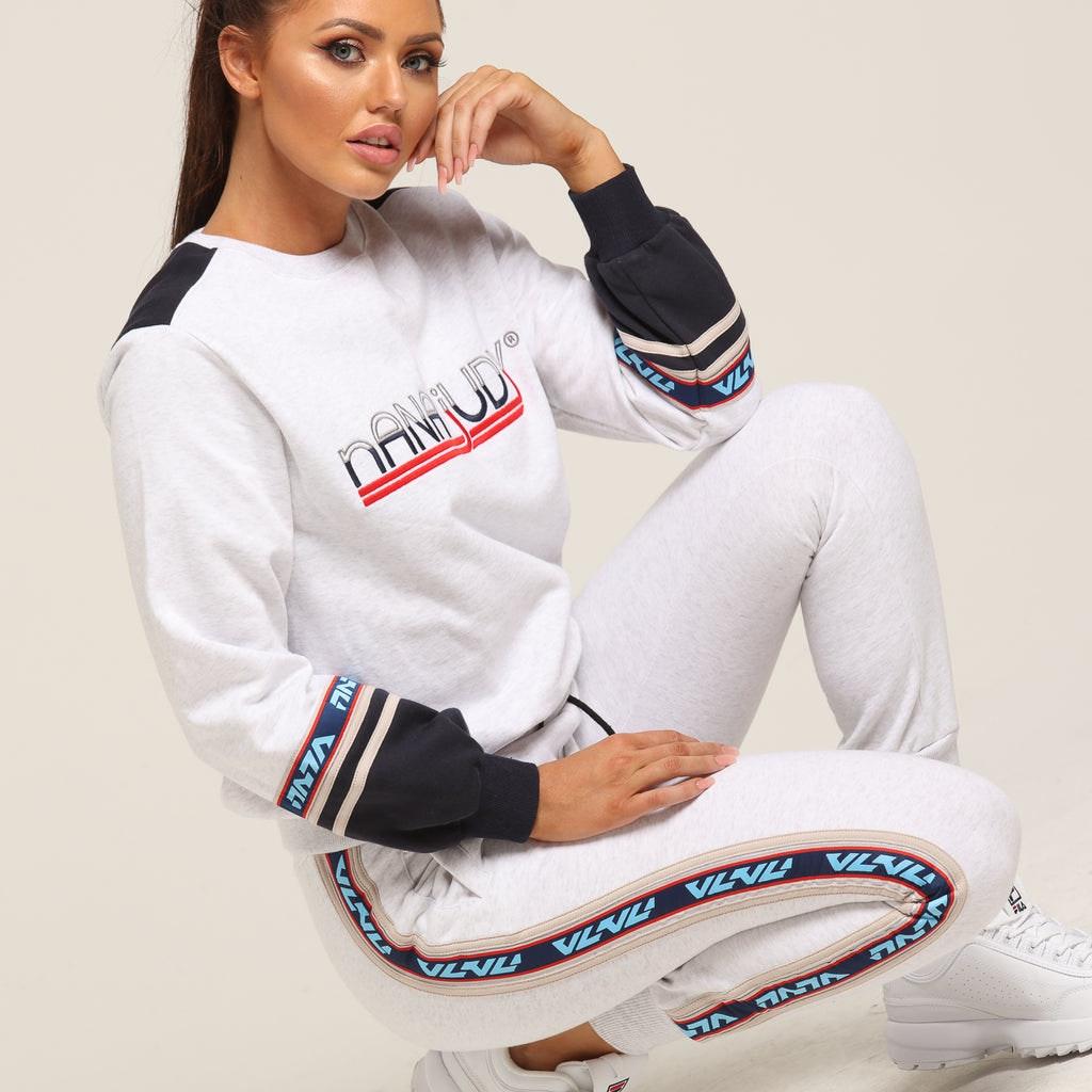 Nana Judy Women's Arden Colour Block Sweater White Marle