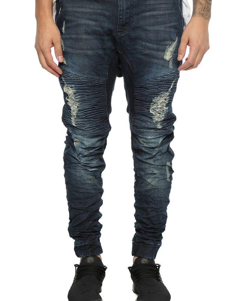 Nena and Pasadena Destroyer Elastic Ankle Jean Dark Blue