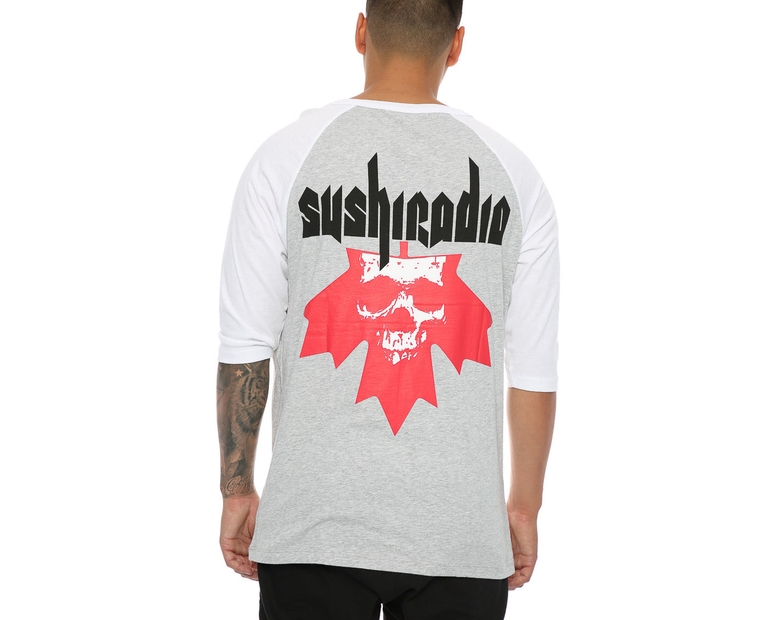 Sushi Radio Rescue Unit 3/4 Sleeve Tee Grey