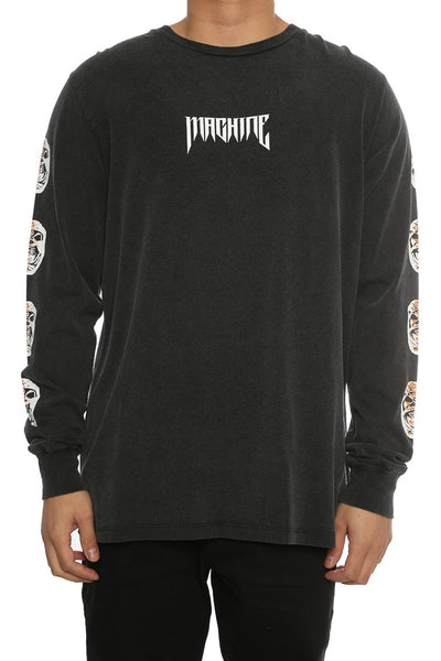 Sushi Radio Machine L/S Tee Black Vintage