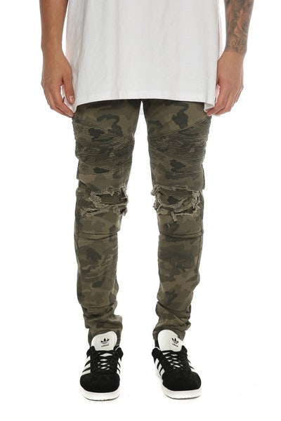 Nena And Pasadena Combination Slim Biker Jean Camo