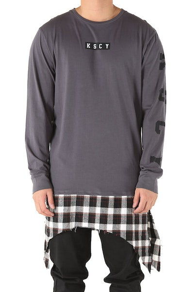 Kiss Chacey Cold Blood L/S Layered Hem Tee Dark Grey