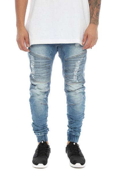 Nena and Pasadena Destroyer Elastic Ankle Jean Blue Trash