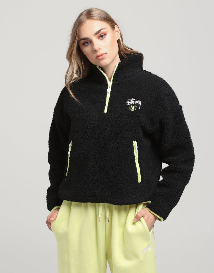 89d657a1395 Stussy Women's Fallon Sherpa Jacket Black