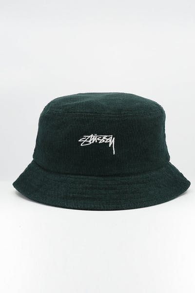 Stussy Authentic Cord Bucket Hat Dark Bottle