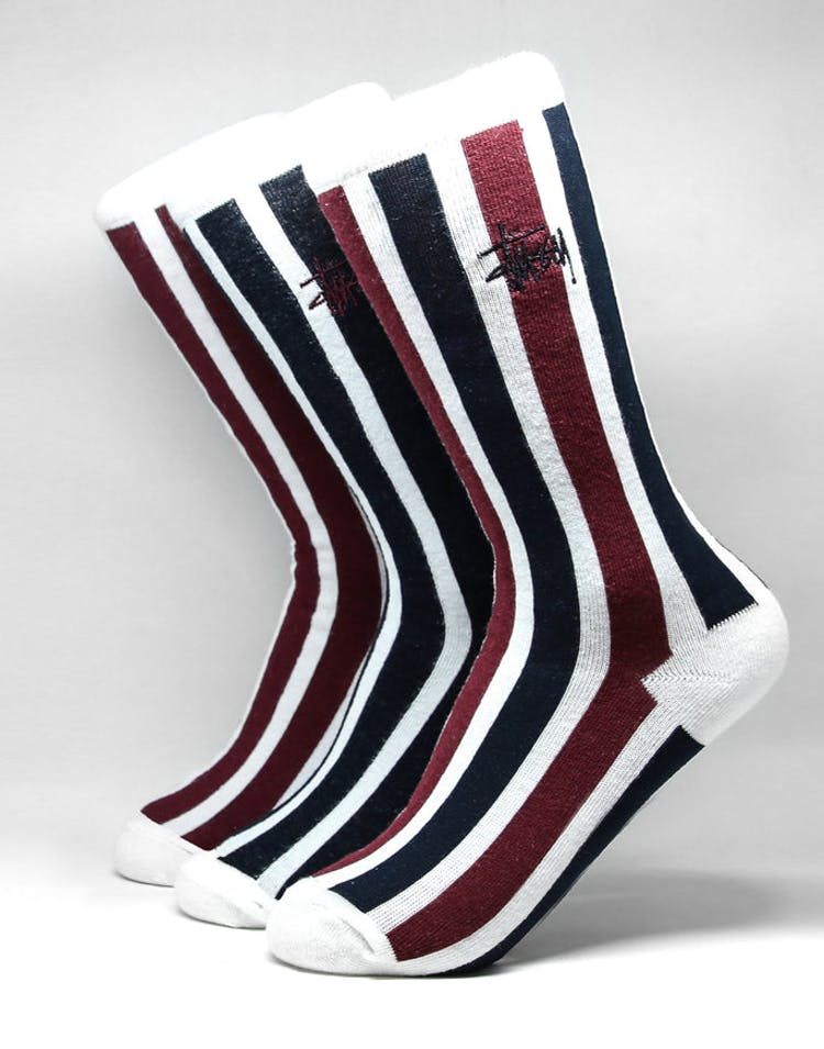 Stussy Vertical Stripe Sock 3 Pack Multi-Coloured
