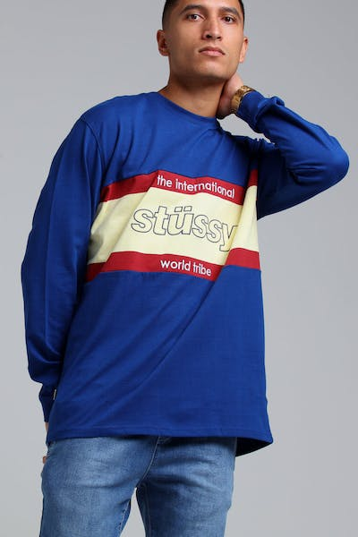 Stussy World Tribe Rugby LS Tee Navy