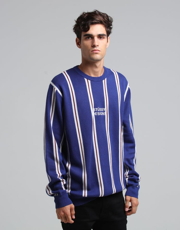 deec7aff876 Stussy Vertical Knit Crew Navy Stripe – Culture Kings