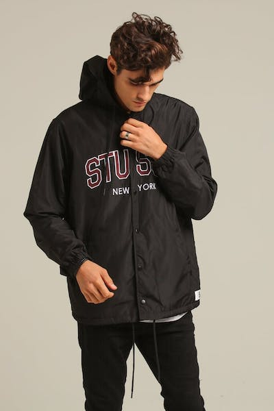 Stussy NY Hooded Coaches Jacket Black