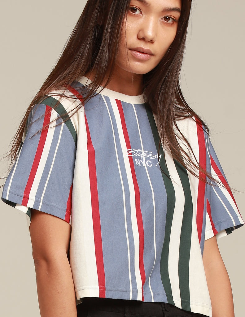 Stussy Women's Preston Crop OS Tee Blue Stripe