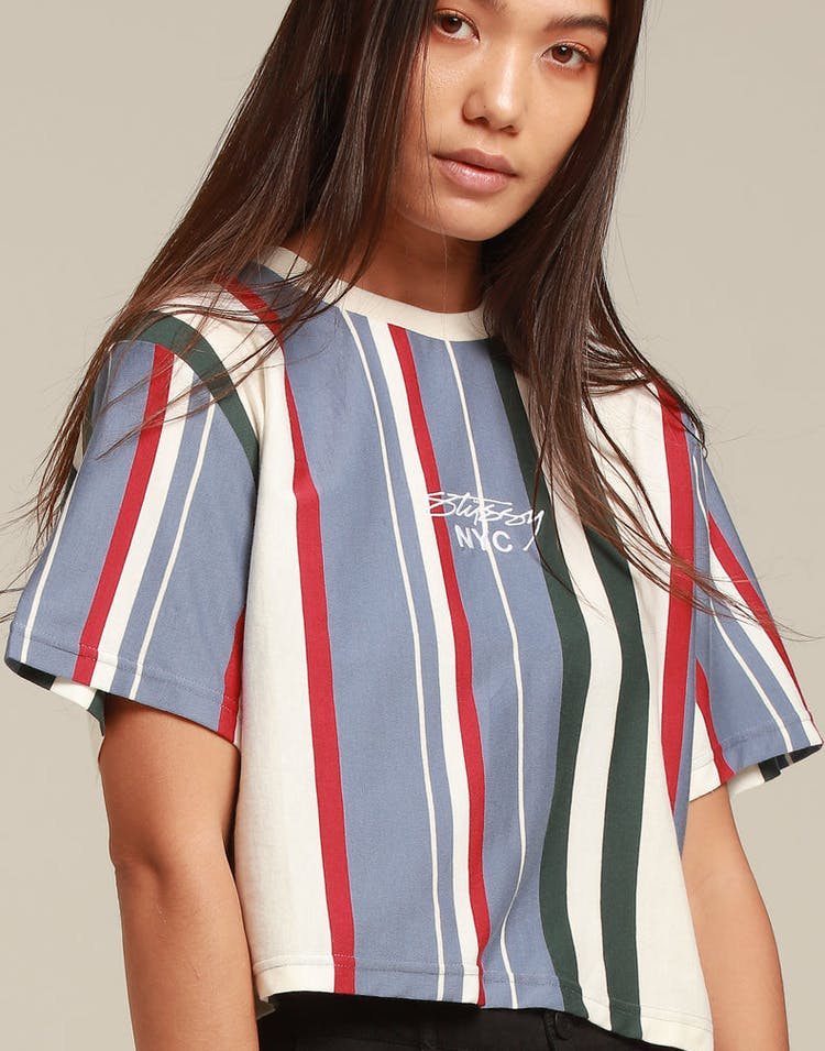 Stussy Women's Preston Crop OS Tee Blue Stripe