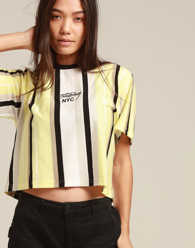 Stussy Women's Preston Crop OS Tee Yellow Stripe