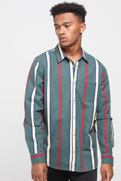 Stussy Woody Vert Stripe LS Shirt Bottle Green