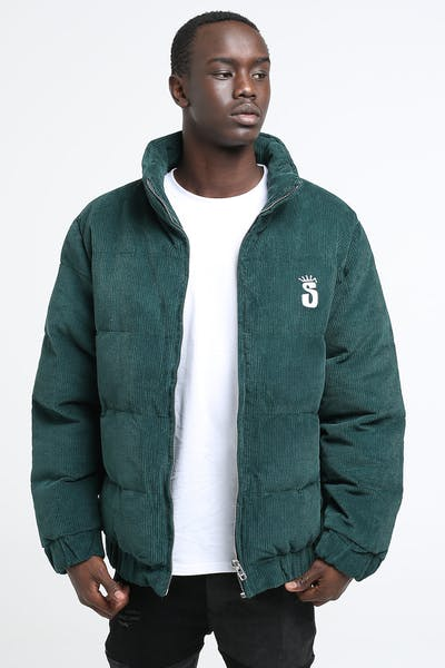 Stussy Crown Cord Puffa Jacket Bottle Green