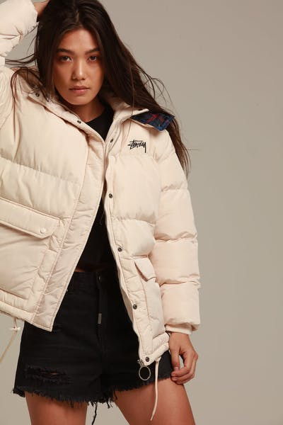 Stussy Women's Tribe Puffa Jacket White/Sand