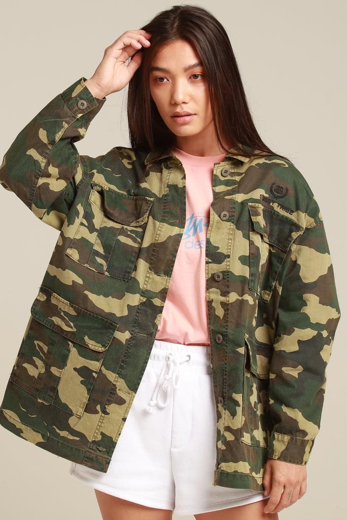 Stussy Women's Hunt Jacket Green Camo