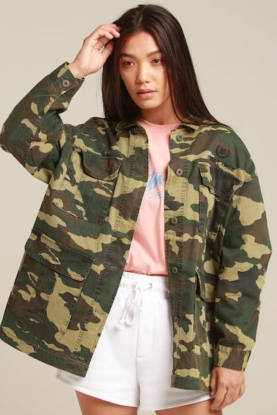 Stussy Women's Hunt Jacket Green Camo