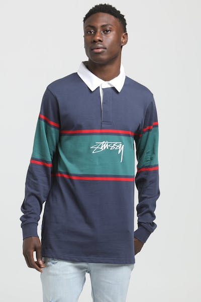 Stussy Authentic Logo YD Stripe Rugby Shirt Blue Nights