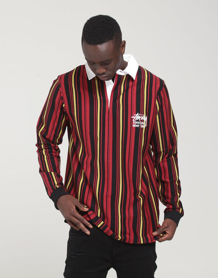da735dcb612 Stussy | Cali Vertical Stripe Rugby Shirt Dark Port | Menswear – Culture  Kings