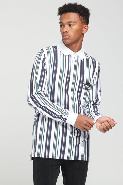 Stussy Cali Vertical Stripe Rugby Shirt White
