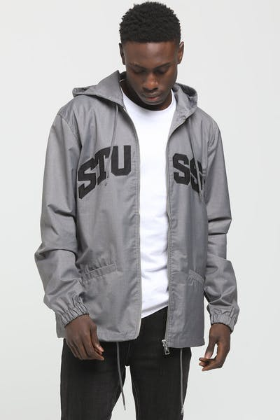 Stussy Sport Hooded Coaches Jacket Grey Marle