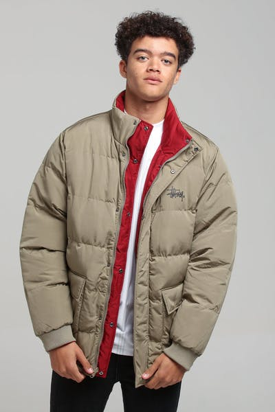 Stussy West Reverse Puffer Jacket Mushroom/Red