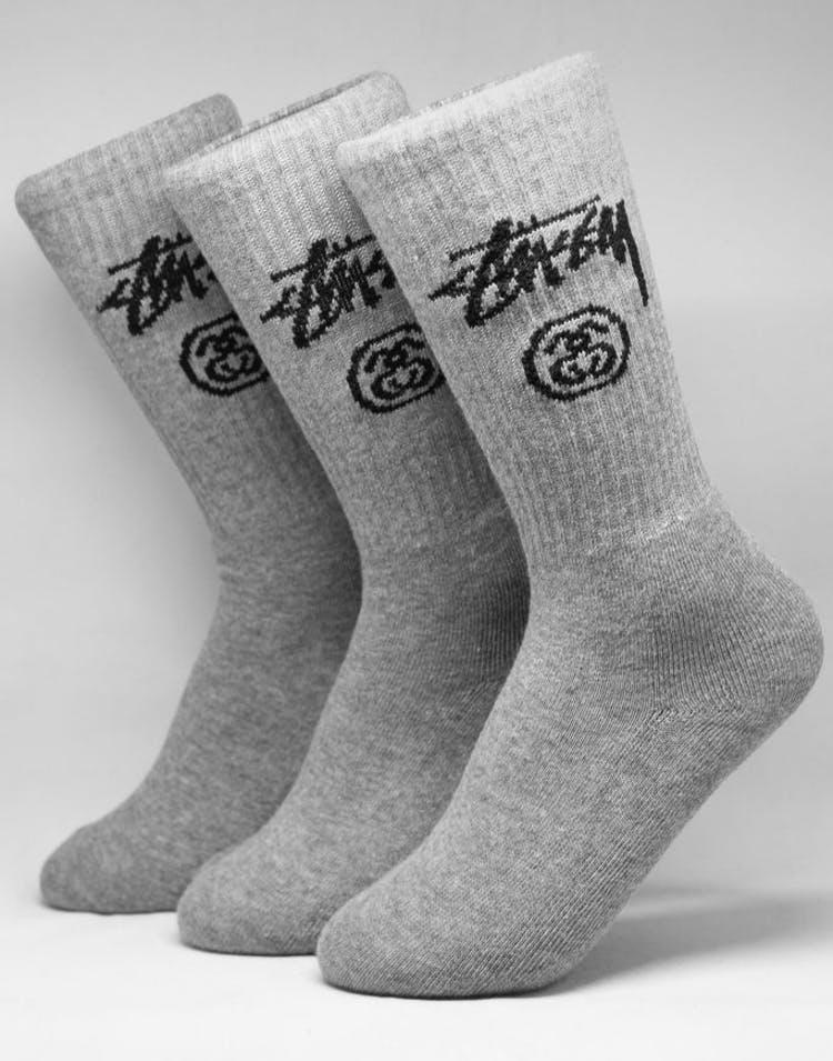 9d1ec8cc632 Stussy Stock Crew Socks 3 Pack Grey Marle – Culture Kings