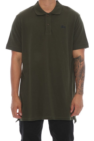 Stussy Graffiti SS Polo Tee Dark Olive