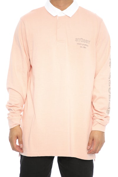 Stüssy Los Solid LS Rugby Top Pink
