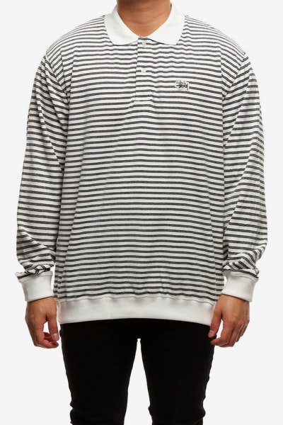 Stussy Ruler LS Rugby Tee White