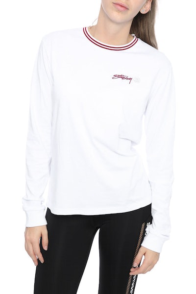 STUSSY SHINE ON JERSEY CREW TOP WHITE
