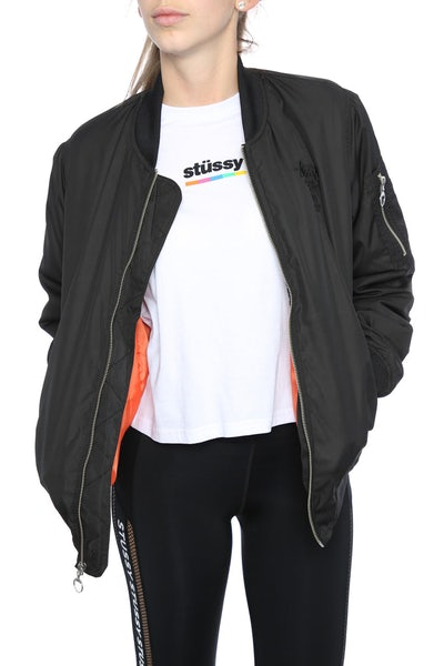 Stussy Satin Bomber Jacket Black/Orange