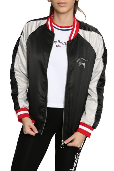 Stussy Ladies World Tour Bomber Jacket Black/White