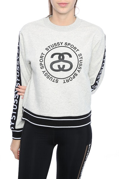 STUSSY MESH CROP FLEECE GREY