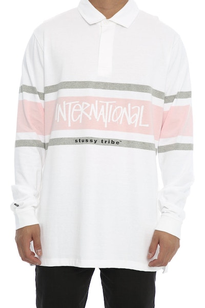 Stussy Borders Rugby Tee White