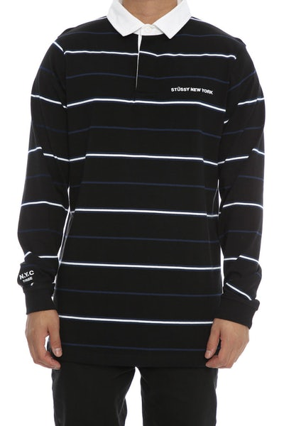Stussy N.Y.C Rugby Long Sleeve Tee Black