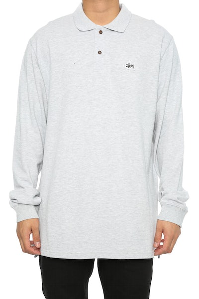 Stussy Basic Graffiti Pique LS Polo Grey