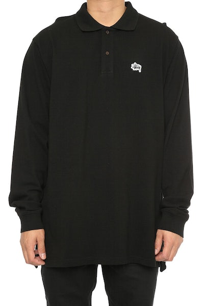 Stussy Basic Graffiti Pique LS Polo Black