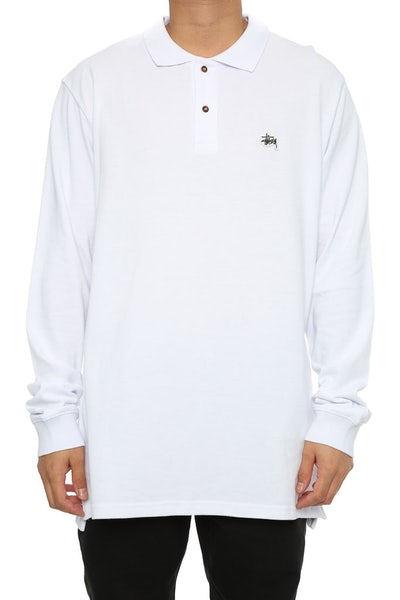 Stussy Basic Graffiti Pique LS Polo White